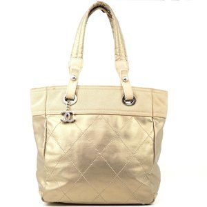 Auth Chanel Tote Bag Biarritz Pm Coated #3441C15